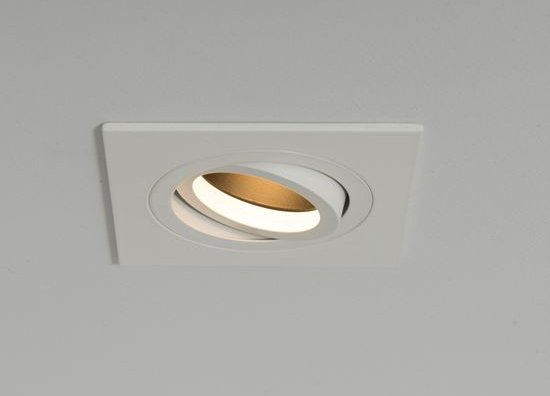 Qr Pro Single Square Plate Downlight White with Black Baffle