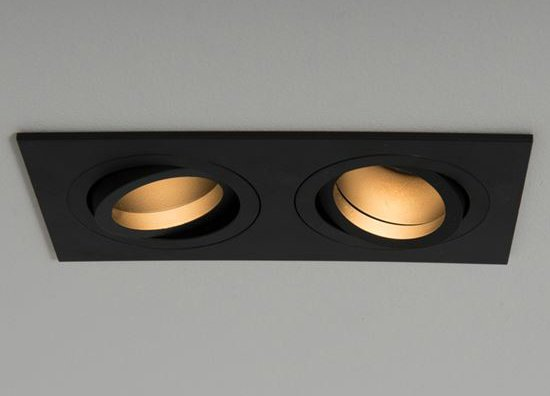 Qr Pro Twin Plate Downlight Black with Black Baffle