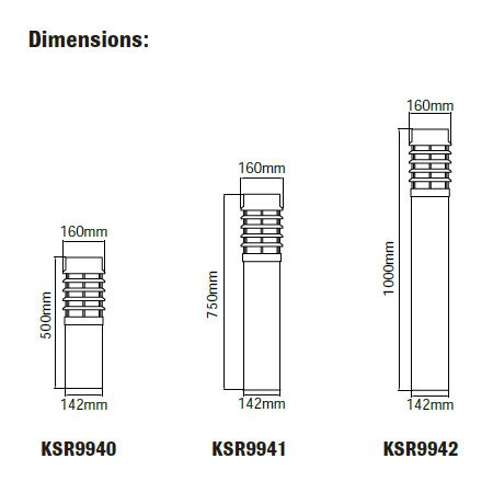 Talara Stainless Steel E27 Bollards Dimensions