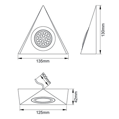 Mains Voltage 1.5W Triangle LED Cabinet Light Size